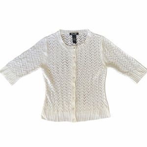 Campus Crew Knit Button Up 3/4 Sleeve Cardigan
